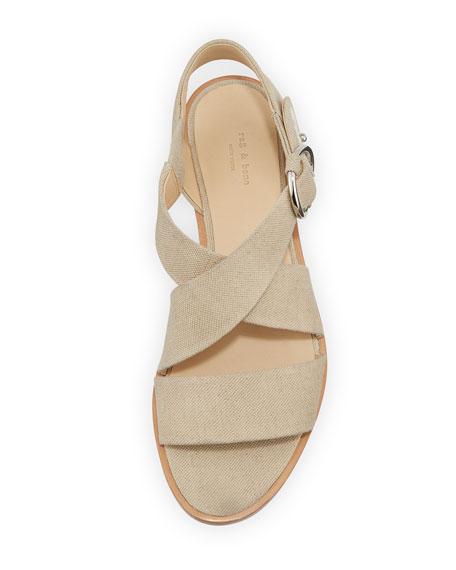 Brie Flat Canvas Flat Sandal, Cream