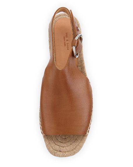 Calla Leather Wedge Espadrille Sandal, Light Brown