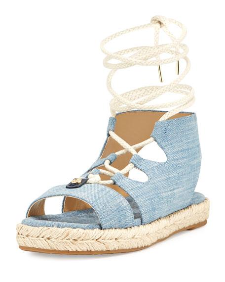 MICHAEL Michael Kors McKenna Denim Flatform Sandal, Blue