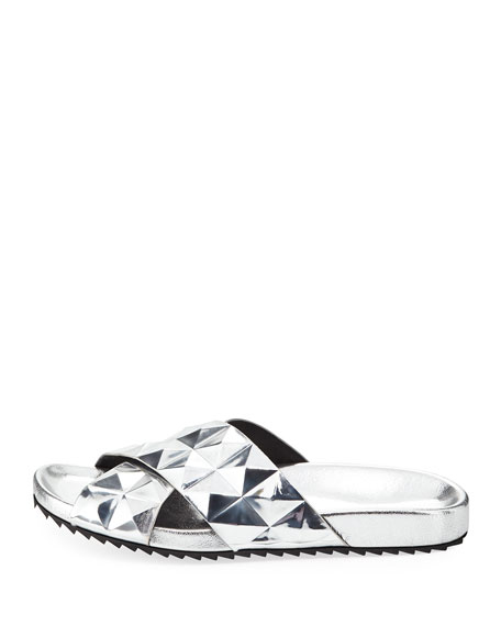 Tammi Studded Slide Flat Sandal, Silver