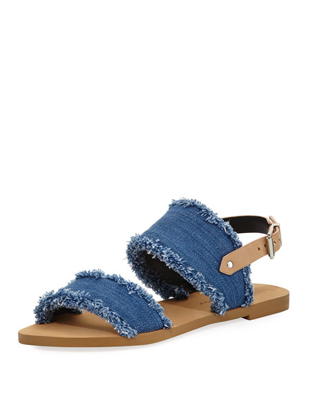 Emery Denim Fringe Flat Sandals, Blue