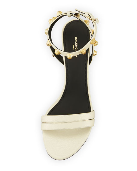 Studded Arena Leather Ankle-Wrap Sandal, Ecru