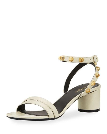 Studded Arena Leather Ankle-Wrap Sandal, Ecru