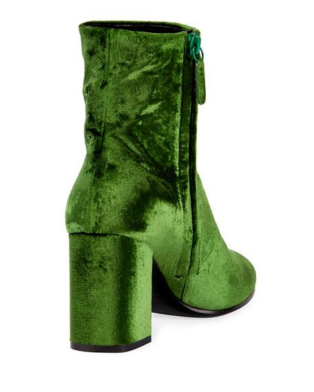 Velvet Zip-Up Block-Heel Booties, Vert Irlandais
