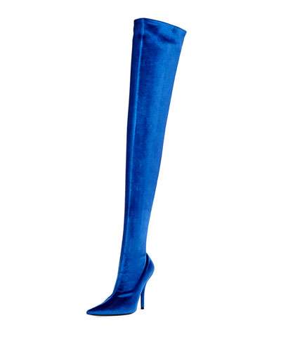 Velvet Over-The-Knee Boot, Blue