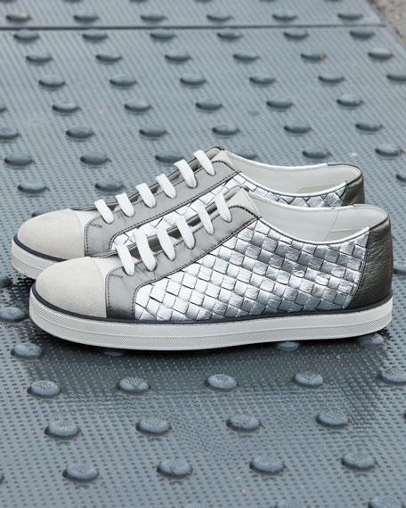 Metallic Woven Low-Top Lace-Up Sneakers