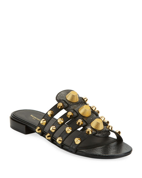 Giant Studded Glossed Textured-Leather Slides in Black