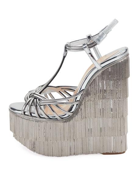 Espelio Platform Red Sole Sandals, Silver