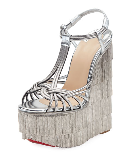 Christian Louboutin Espelio Platform Red Sole Sandals, Silver
