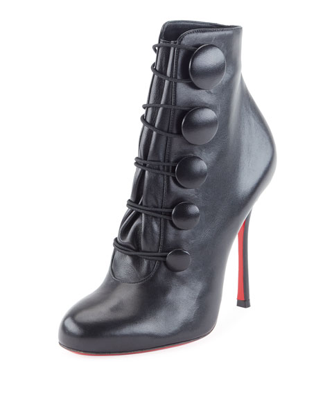 Booton Leather Red Sole Button Booties, Black