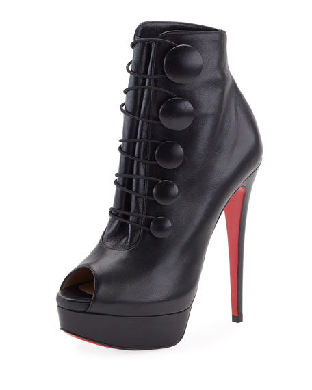 Christian Louboutin Lady Booton Peep-Toe Red Sole Platform