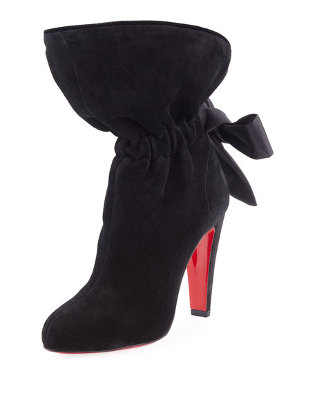 Christian Louboutin Kristofa Suede Satin-Bow Red Sole Boot
