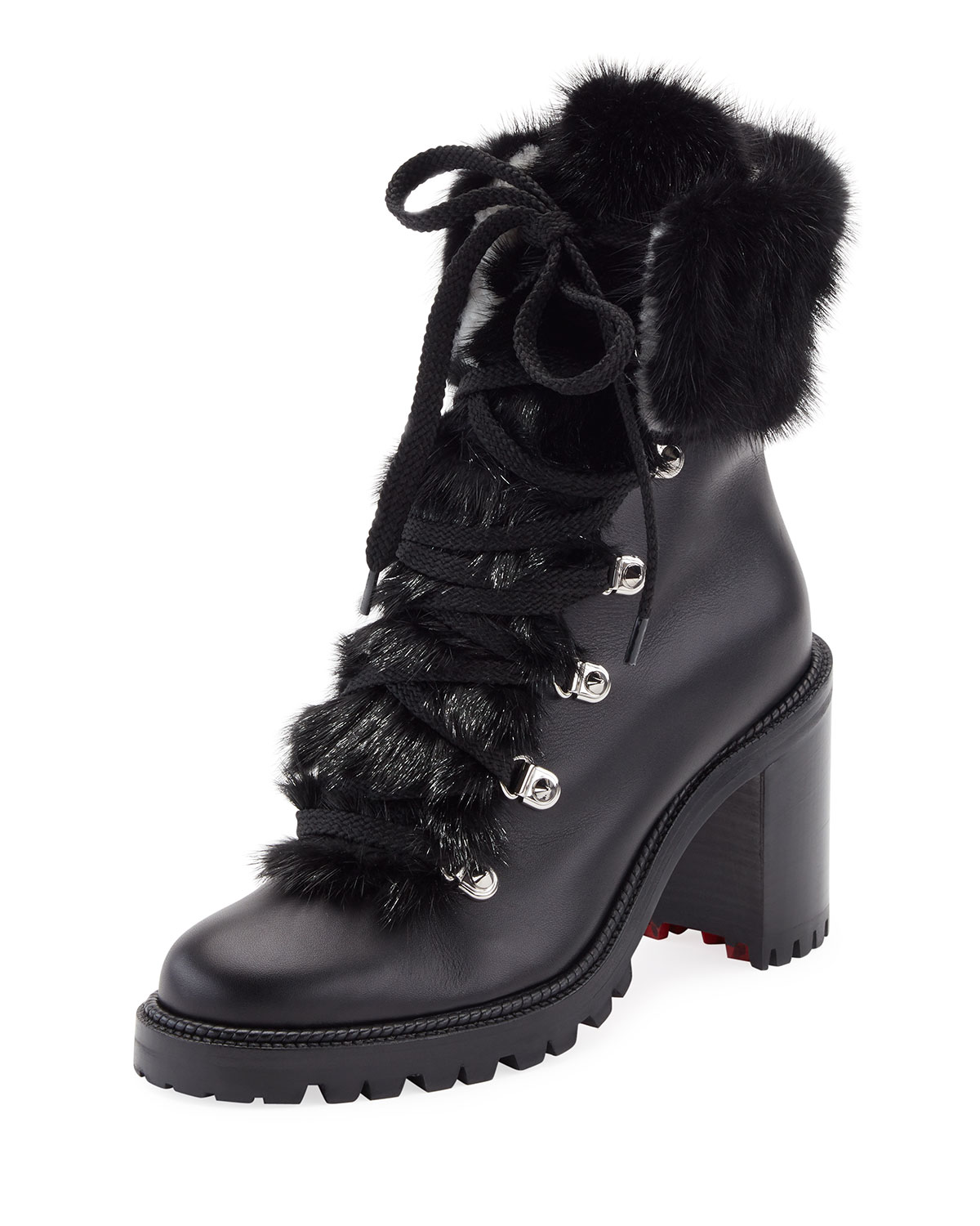 5cfb906b55ad Christian Louboutin Fanny Leather Fur-Trim Red Sole Combat Boot ...