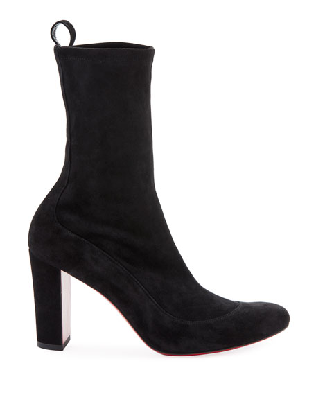 Gena Stretch Suede Midi Boot, Black