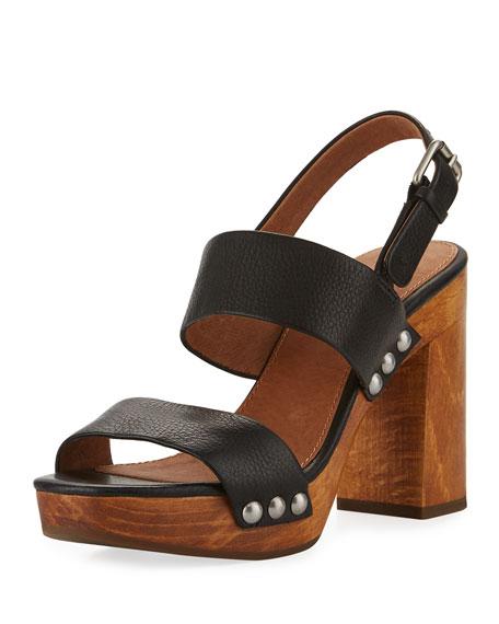Frye Tori 2 Slingback Wooden Sandal, Black