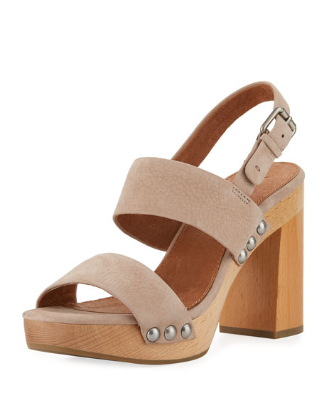 Frye Tori 2 Slingback Wooden Sandal, Taupe