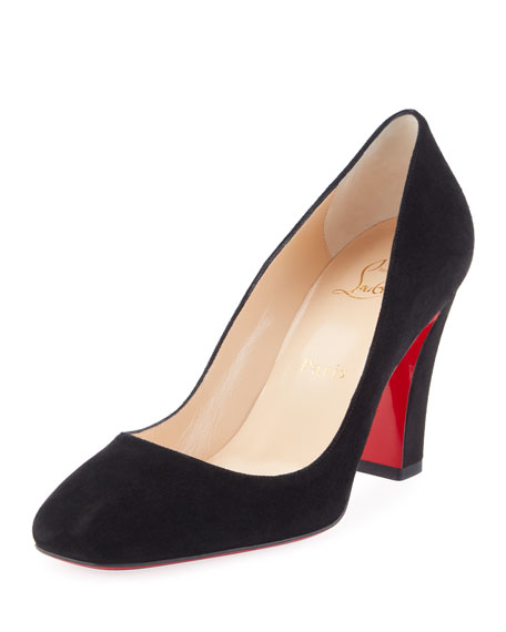 Viva Suede 85mm Red Sole Pumps, Black
