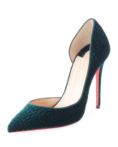 Christian Louboutin Iriza Embossed Velvet 100mm Red Sole