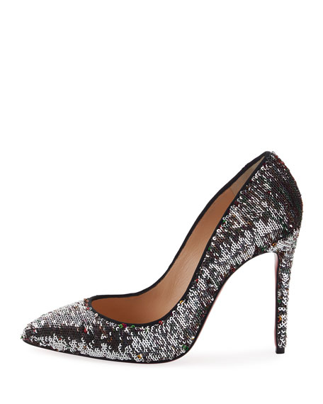 Pigalle Sequin Red Sole Pump, Black