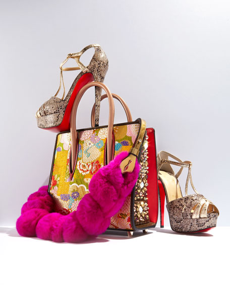Glennalta Glitter T-Strap 150mm Red Sole Sandal, Brown