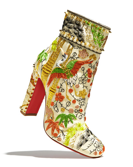Bamboot Embroidered Red Sole Bootie