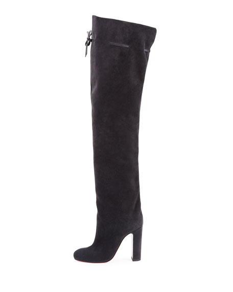 Alta Gant Suede Red Sole Knee Boot, Gray