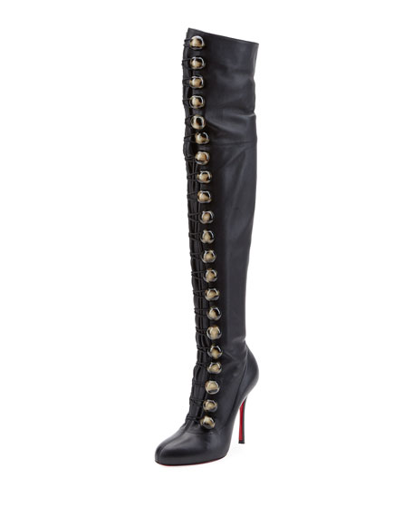 Fabiola Button Red Sole Over-the-Knee Boot