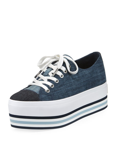 Ronnie Denim Platform Low-Top Sneaker, Indigo