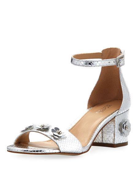 MICHAEL Michael Kors Autumn Metallic Flower Flat Sandal,