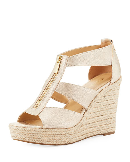 MICHAEL Michael Kors Damita Metallic Wedge Sandal, Gold