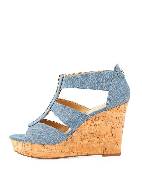 Damita Denim Wedge Sandal, Indigo