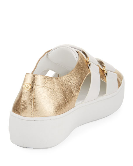 Beckett Metallic Cutout Sneaker, Gold