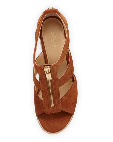 Damita Suede Cutout Wedge Sandal, Luggage