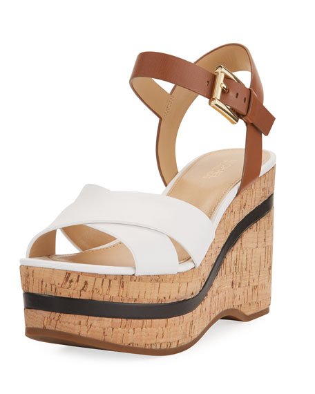 MICHAEL Michael Kors Chandler Wedge Platform Sandal, White/Brown