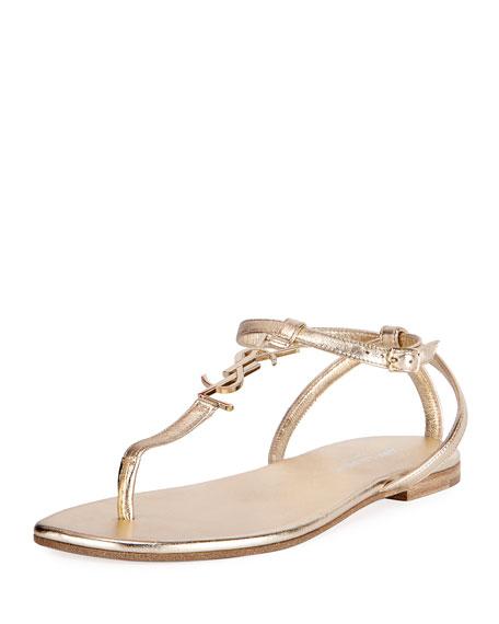 Saint Laurent Monogram Metallic Flat Thong Sandal, Gold
