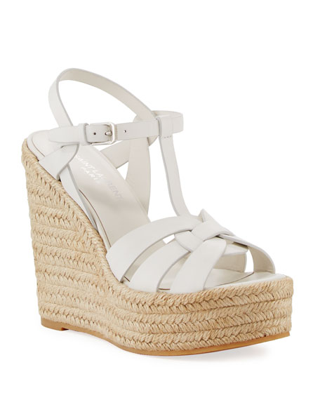 Saint Laurent Tribute Matte Leather Platform Espadrille Sandal