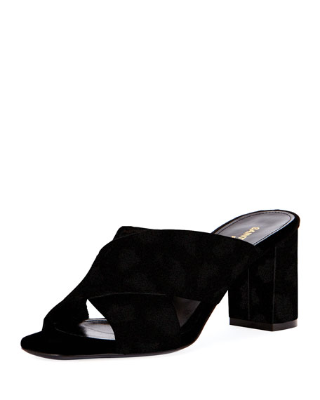 Saint Laurent LouLou Suede Slide Sandal, Black
