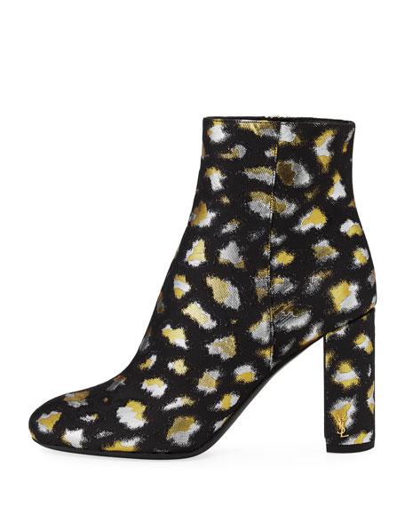 LouLou Metallic Leopard Jacquard Block-Heel Bootie