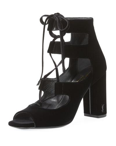 Loulou Velvet Lace-Up Sandal