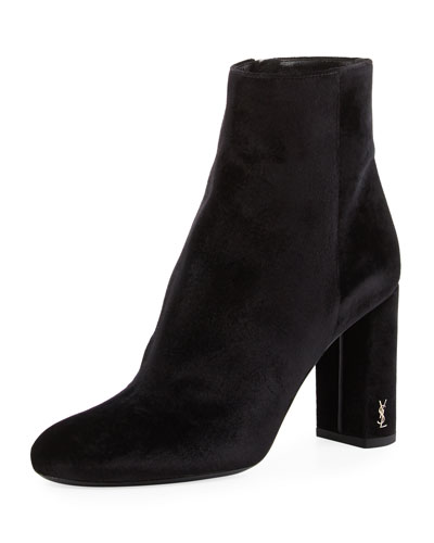 Loulou Velvet Zip-Up Bootie