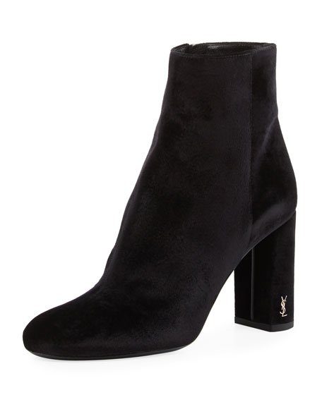 Saint Laurent Loulou Velvet Zip-Up Bootie