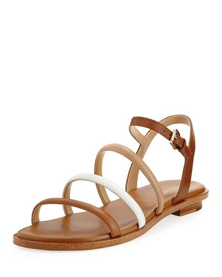 MICHAEL Michael Kors Nantucket Strappy Flat Sandal, Brown