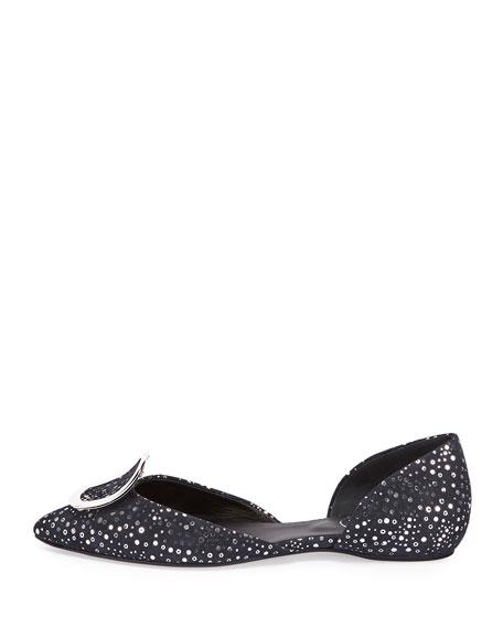 Sparkle Dots Suede Ballerina Flat, Navy