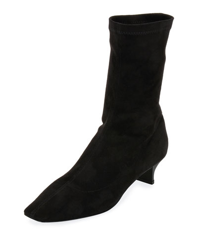 Faux Stretch-Suede Bootie, Black