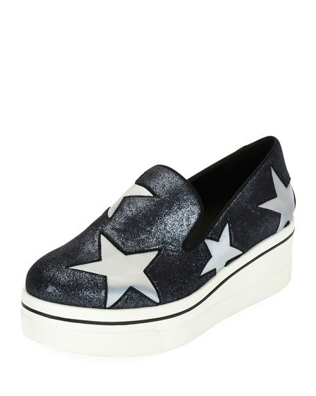 Stella McCartney Binx Stars Glittered Loafer, Silver