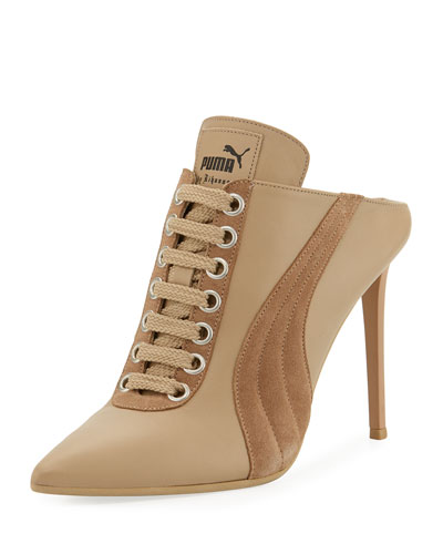 puma by rihanna. lace-up leather mule sneaker pump, taupe puma by rihanna