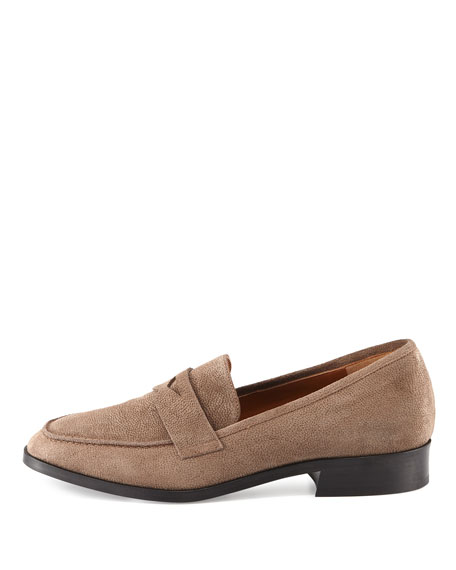 Sharon Embossed Suede Loafer, Taupe