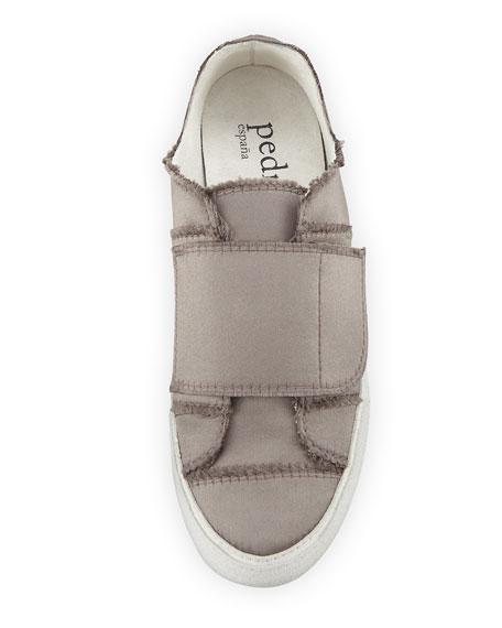 Palmira Satin Grip-Strap Sneaker, Truffle
