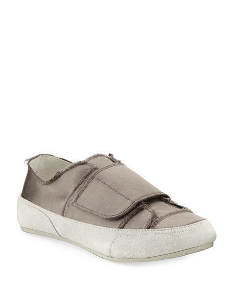Palmira Satin Grip-Strap Sneakers, Truffle