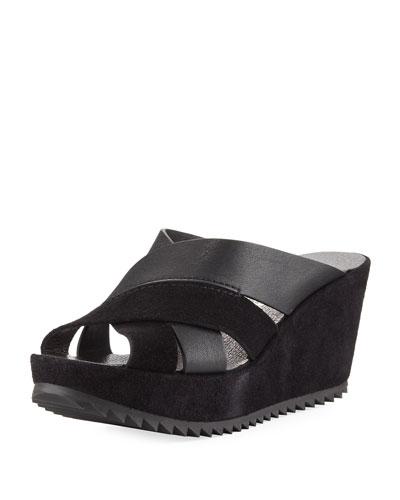 Frine Crisscross Wedge Slide Sandal, Black